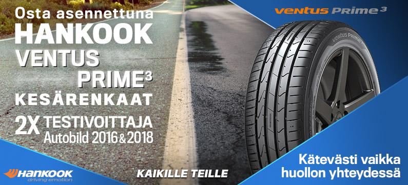 Ventus Prime3 renkaat asennettuna Suomenoja